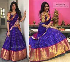 New found love for ikat. Pre-order your kavithagutta ikat-kanchi lehengas now. Lehenga Saree Design, Half Saree Lehenga, Lehnga Dress, Lehenga Designs, Saree Blouse Designs, Sari, Bollywood Lehenga, Blouse Patterns, Indian Designer Outfits
