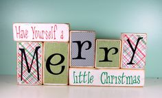 Mave yourself a Merry Little Christmas - Christmas or Winter Wood Block Decor Set - Labor Day Sale. $32.00, via Etsy.