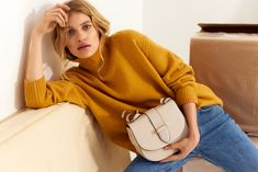 DECADENT SS19 Campaign. Kim satchel bag in oat. Satchel Bag, Spice Things Up, Suede Leather, Campaign, Turtle Neck, How To Wear, Bags, Outfits, Fashion
