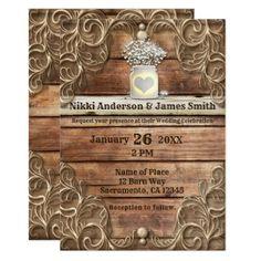 Lace Wood Rustic Vintage Western Elegant Wedding Card - lace wedding ideas marriage diy cyo customize special