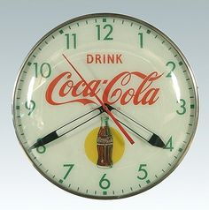 Image detail for -1950's wall-mounted Coca-Cola clock,