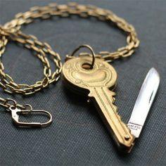 Vintage Brass Key Shaped Pocket Knife Necklace by contrary on Etsy Brass Necklace, Brass Jewelry, Jewelery, Vintage Jewelry, Jewelry Necklaces, Jewelry Accessories, Hidden Knives, Hidden Weapons, Mochila Kpop