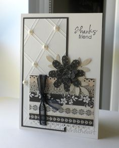 "Lovely ""Thanks Friend"" Card...Nancy Leppek: Scrapper@heart - Freshly Made Sketches #33."