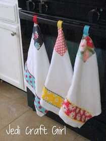 Handy Kitchen Towels - made from bar mop towels from Target, band of fabric with rick-rack edges and hanging loop.
