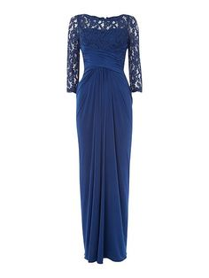 fab5d236690 Adrianna Papell Rouched Waist Gown With Lace Top And 3 4 Sleeves - House of  Fraser