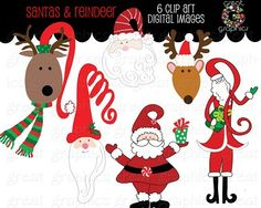 Santa and Reindeer Digital Clip art for paper crafts, holiday invitations, photo cards, DIY ornaments and other crafts by Great Graphics $5 http://www.greatgraphicsdesigns.com/printable-santa-and-reindeer-clip-art_p_340.html