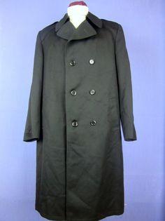 C&A black NEW WOOL trench mac coat overcoat XLARGE cj115    eBay