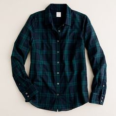Perfect shirt in Blackwatch plaid ($72) ❤ liked on Polyvore featuring tops, shirts, plaid, blouses, blue, women, blue plaid shirt, long tops, j crew tops and blue shirt