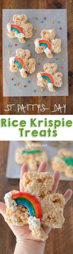 Patrick's Day Desserts: A curated collection of delicious St. Patrick's Day Desserts including brownies, donuts, macarons, popcorn and more! Rice Crispy Treats, Krispie Treats, Yummy Treats, Sweet Treats, Holiday Treats, Holiday Recipes, Easter Recipes, Easter Ideas, Holiday Fun