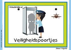 Themahoek 4 veiligheidspoortjes bij thema vliegveld voor kleuters, juf Petra van kleuteridee, free printable.Themahoek 4 veiligheidspoortjes...