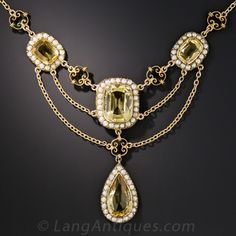 https://www.langantiques.com/vintage-jewelry/victorian-jewelry/citrine-and-seed-pearl-festoon-necklace.html.  Dating from the first or second decade of the last century highlights four sunshiny golden citrines framed by small freshwater pearls.