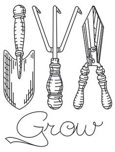 garden tools urban threads unique and awesome embroidery designs - Tools Coloring Pages Screwdriver