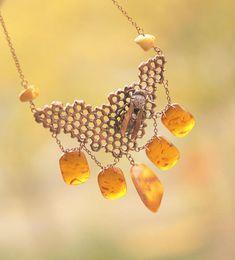 Bee honeycomb necklace electroformed honey combstatement