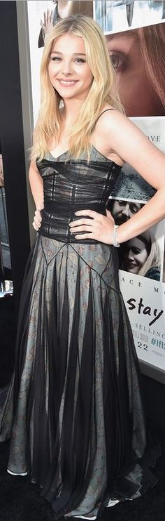 Who made Chloe Moretz's jewelry, shoes, and black print dress that she wore in Hollywood on August 20, 2014