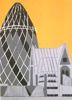 Gherkin (grey) by Jennie Ing, linocut print in edition of 25 Pretty Pictures, Art Pictures, Building Illustration, London Landmarks, Pub, London Art, Wood Engraving, Environmental Art, Linocut Prints