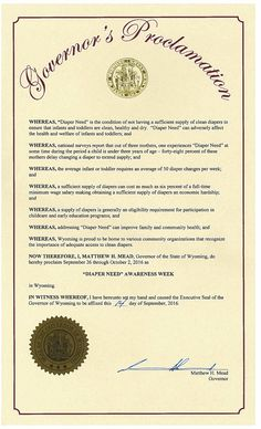 WYOMING- Governor Matthew H. Mead proclamation recognizing Diaper Need Awareness Week (Sep. 26-Oct. 2, 2016) #DiaperNeed Diaperneed.org
