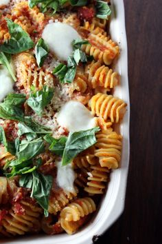 Jamie Oliver. Baked Pasta with Tomatoes and Mozzarella