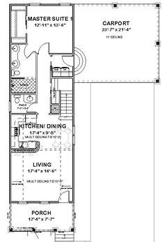narrow lot, roomy feel (hwbdo75757) | tidewater house plan from