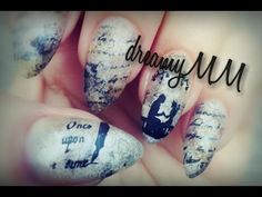 """Once Upon a Time... Stamping Nail Art on distressed """"old book"""" look background"""