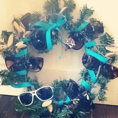 Holiday wreath made out of sunglasses