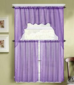 Polyester Imported Swag Valance Measures: X Tiers: X Each Tier) These Beautiful Sheer Kitchen Curtain Set Will Let You Enjoy Some Privacy While… Vintage Kitchen Curtains, Kitchen Window Valances, Kitchen Window Treatments, Kitchen Curtain Sets, Purple Curtains, Diy Curtains, Purple Kitchen Accessories, Curtains Pictures, Long Shower Curtains
