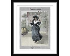 Hand coloured Victorian Lady engraving at Recreation  coloured Victorian Fashion plate Ladies pastimes fashion ephemera Best gift for Mom
