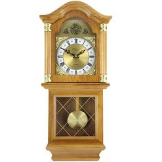 Bedford Clock Collection Classic 26 Golden Oak Chiming Wall Clock With Swinging Pendulum Chiming Wall Clocks, Pendulum Wall Clock, Clock Decor, Desk Clock, Grandfather Clock, Golden Oak, Vintage Walls, Wood And Metal, Decorative Accessories
