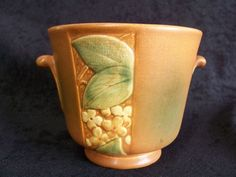 Weller Velva Pottery Bowl Vase Leave Flower Art Deco Garden Plant Mission Brown | eBay