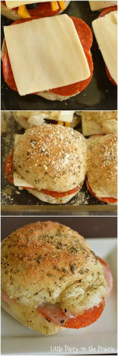 All the pepperoni pizza yumminess in a make ahead slider form! The gooey insides are perfect with the cheesy garlic butter topping! I always keep the ingredients on hand to make these! Little Dairy on the Prairie Think Food, Love Food, Pizza Slider, Beste Burger, Deli Sandwiches, Slider Sandwiches, Pizza Sandwich, Pizza Rolls, Hawaiin Roll Sandwiches