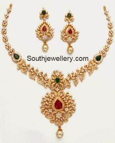 CZ Necklace latest jewelry designs - Page 18 of 33 - Indian Jewellery Designs Gold Wedding Jewelry, Bridal Jewelry, Gold Jewelry, Jewelry Design, Necklace Set, Gold Necklace, Diamond Necklaces, Diamond Jewellery, Simple Necklace