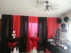 Black and red fabric for backdrop. black and red fabric for backdrop las vegas party, vegas theme Casino Royale, Fète Casino, Casino Cakes, Casino Room, Las Vegas Party, Vegas Theme, Casino Night Party, Casino Party Decorations, Casino Theme Parties