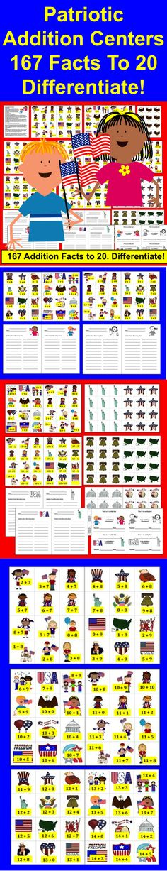 $ Fourth of July Math Centers Activities - Patriotic Addition Fact Activities - 3 Ways to Play 40 page download – 167 Addition Facts to 20  (Subtraction Facts available in my other product  listings .)