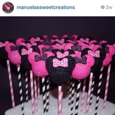 These sparkly Minnie Mouse cake pops are so fun! The colorful paper straws are the perfect finishing touch.