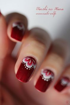 How to Make a Nail Art Flower. A set of beautifully manicured nails is a sign that you've taken good care of them. While you can't go wrong with a French manicure or some solid-colored talons, try taking your manicure to the next level by. Fancy Nails, Cute Nails, Pretty Nails, Red Nail Art, Red Nails, Red Manicure, Moon Manicure, Moon Nails, Red Art