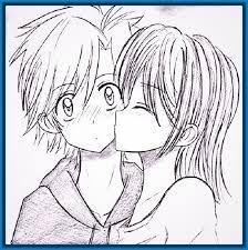 Resultado de imagen para dibujos a lapiz de amor anime faciles