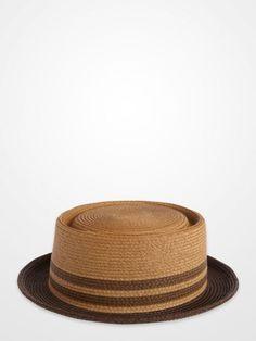 Brown and Beige Stripe Porkpie Hat