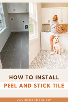 Have you been looking for a way to spruce up your laundry room? Have you thought about peel and stick floor tile? You should! It's an easy way to make a huge difference! Just follow my step by step instructions on how to install your new look! The before and after pictures will have you excited! #laundryroomideas #laundryroommakeover #peelandstick #spruceupyourspace #stepbystep