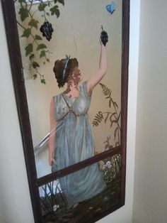 Reverse glass painting is a centuries-old art form featured on mirrors, clocks, and furniture. This mirror is from a estate in north Georgia. Early American, American Art, Mirror Painting, Old Art, Art Forms, Clocks, Mirrors, Georgia, Metal