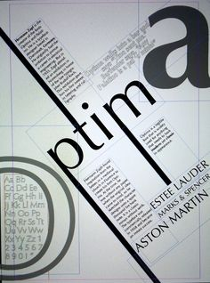 A very retro design that uses the diagonal as well as an abstract look to the O and a bold a. Text box outlines give a blueprint look and the text runs along side them. Anatomy Of Typography, Typography Layout, Typography Books, Lettering, Type Posters, Graphic Design Posters, Graphic Design Typography, Hermann Zapf, Type Anatomy