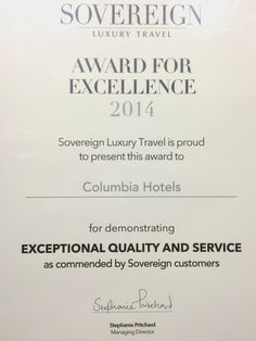 #award #excellence #exceptional #quality #service #sovereign #luxury #travel www.columbiaresort.com