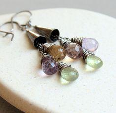 Gemstone Earrings   Ametrine Oxidized Silver  Prehnite   by hildes, $46.00