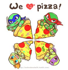 Little cute ninja turtles with pizza blankets