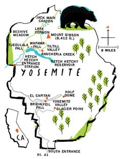 9 Best Yosemite National Park Maps Images National Parks Map