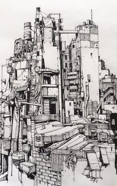 Sketchbook Drawings, Art Sketches, Art Drawings, Ink Illustrations, Illustration Art, Background Drawing, Perspective Drawing, Landscape Drawings, Urban Sketching
