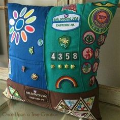 Memory pillow made from scout uniform and patches