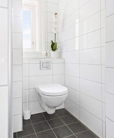 Large White Tiles For This Powderoom Look So Clean And Crisp I Love Bellabagno Vanities