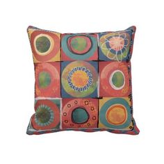 fun painted circles American MoJo Throw Pillows