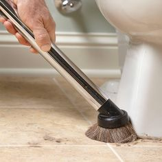 Vacuum First, Then Scrub - How to Clean a Bathroom Faster and Better: http://www.familyhandyman.com/cleaning/how-to-clean-a-bathroom#7