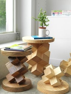 Wood puzzle inspired end table