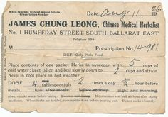 Receipt from James Chung Leong, Chinese Medical Herbalist, 1 Humffray Street South, Ballarat East,